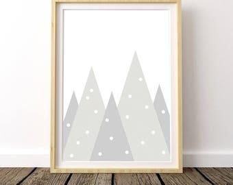 Scandinavian Nursery, Mountain Print, Scandinavian Poster, Mountain Range, Mountain Nursery, Scandinavian Modern, Mountain Nursery Print