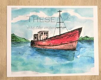 Old Fishing Boat Watercolor Print 8 x 10