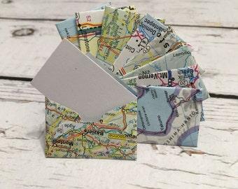 """Teeny tiny itty bitty mini map atlas envelopes with tiny note cards 1x1.5"""""""
