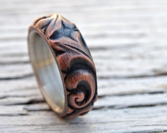 viking wedding ring copper leaf ring, medieval wedding band mens proposal ring, textured copper ring leaves, copper anniversary gift ring