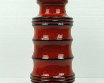 scheurich 1960's 70's vintage retro VASE bright red black stripes model 266-28