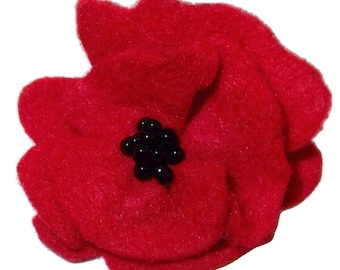 Vintage Style Red Felt Poppy Pin (100% of revenue from sales of this pin in the month of May donated to local VFW)
