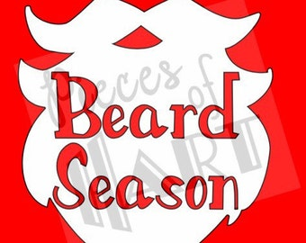 White beard season iron on vinyl decal with cut out text
