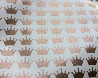 Glitter Crown stickers, Set of 20 vinyl decal, Princess theme party, gold crown decor, gift favors decals, wall sticker, envelope seals