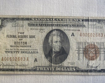 Small Twenty Dollar Series Of 1929 Federal Reserve Note Boston Brown Seal {F1870A}