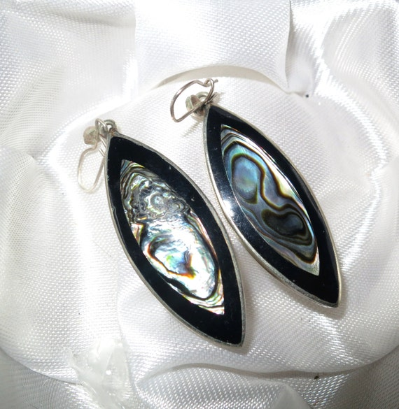 Vintage 1960s Mexican sterling silver abalone earrings
