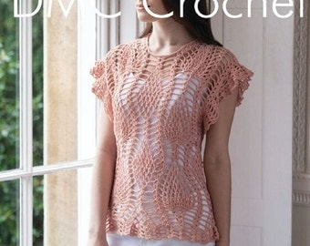 Crochet Pineapple Tunic Top Crochet Pattern only Natura Just cotton Yarn