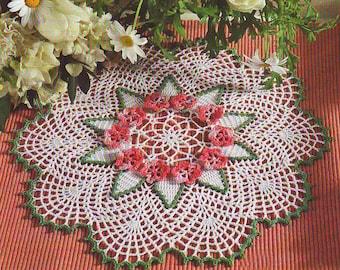 Sale!!! green-white crochet doily