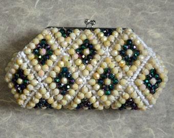 Vintage beaded bag - woven raffia - cream kimono bag