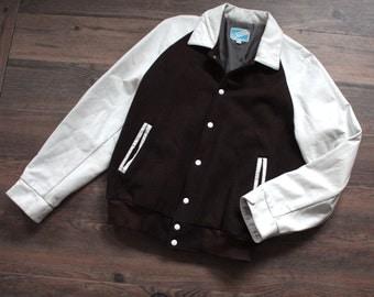 Vintage Varsity Jacket // Brown Wool and White Leather Lettermen Bomber Jacket // Sports Jacket