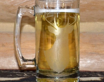 Hand Etched Glass Buck Beer Stein