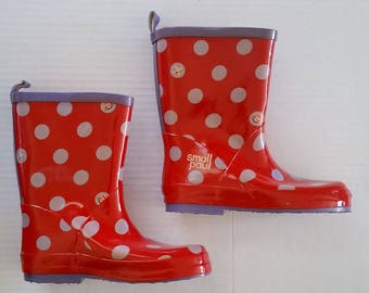 PAUL FRANK Kids Rain BOOTS Size Large 11/12 Red w/ Dots New Small Paul Retired Adorable