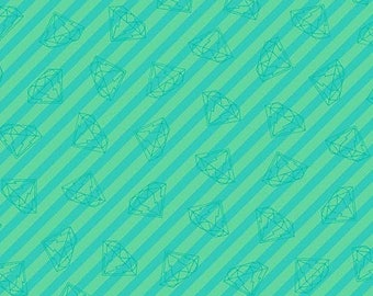 Tattooed in Gem Stripe Teal by Libs Elliot from Andover Fabrics - 1/2 yard