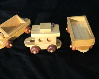 Vintage 3 Montgomery Schoolhouse Train Cars, Discontinued Wooden Train Cars, Set of 3 Childs Train Cars, Quality Handmade Wooden Train Cars