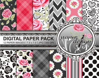 Rose garden paper of digital paper pack instant download Rose flower floral black red love heart 7.5-inch x 7.5-inch pattern #2