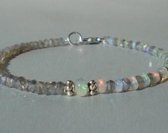 Opal Bracelet, Ethiopian Opal Bracelet, Labradorite Bracelet, Asymmetric Bracelet, Gemstone Bracelet, Dainty Bracelet, Sterling Silver