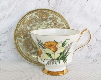 Royal Victoria China, Daffodil, Made in England, Vintage China, Cup & Saucer