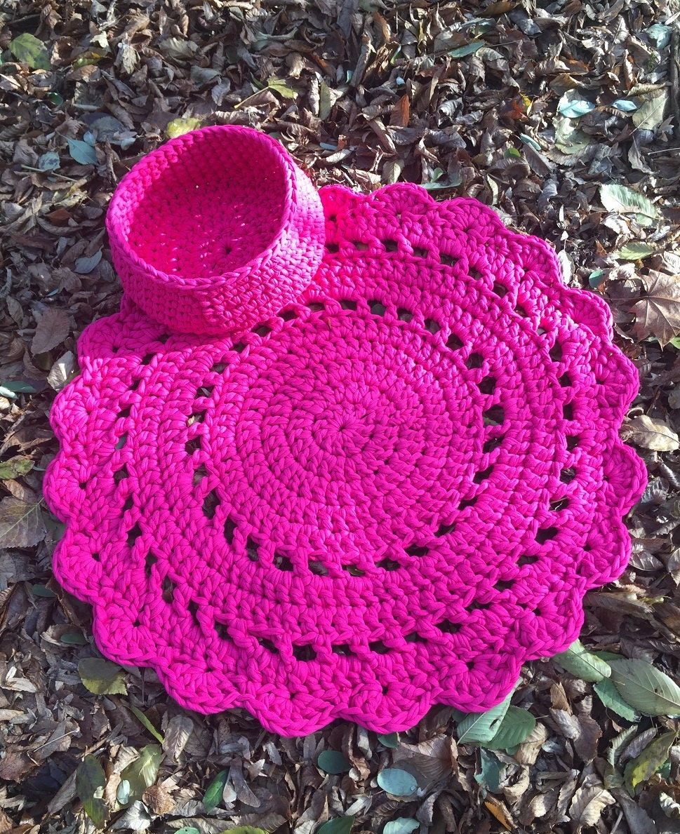 Knitting Pattern For Round Rug : Handmade Crochet round rug Pink Knitted mat by EmbroideryByOlga