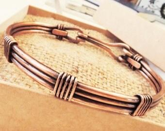 Copper bangle bracelet - Vi6ntage copper wire wrapped men's bracelet - Unisex bracelet - Bracciale in rame da uomo or donna
