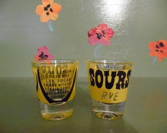 Set 2 Sours Rye Recipe Yellow Shot Glasses Bar Mancave Decor Mid Century Modern Retro Vintage