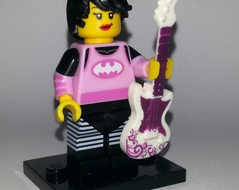 Lego Cute Emo Guitar Girl Custom Minifigure - Rock Guitarist