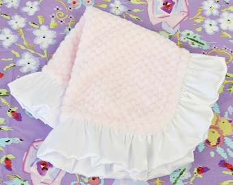 Light Pink with White Satin Ruffle Minky Baby Girl Lovie | Light Pink, Blush, White, Soft,  Minky Baby Girl Security Blanket