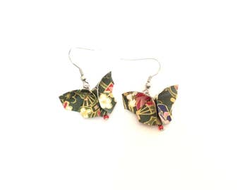 Jewel origami butterfly earrings, butterfly earrings, jewel origami origami