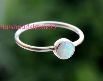 White Opal Ring - Sterling Silver - Opal Gemstone Stackable Rings - Gemstone Rings for women -Dainty Ring,Girls Ring, Gift Ring,