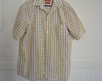 Vintage Plaid RM Williams Rancher shirt Men's size M Cotton Short sleeve Button down Mustard Blue White
