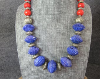 African, Statement, Necklace, Beads, Blue, Silver, Red, Resin Beads, Tribal, Ethnic, Vintage Beads, Handmade, Chunky, Boho, Trade Beads