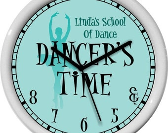"Dancer's Time Ballet 10"" Turquoise Wall Clock Personalized Gift & 5 6 7 8 Dance Studio Girl's Room Gift"