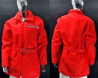 1970s Ski Coat | Vintage Men's 70s Skiing Jacket, Belt, Sportcaster Red Vintage Retro, Size Medium Snowboard, Snowboarding Gear Winter, Warm