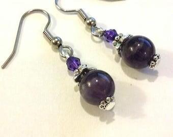 Genuine Amethyst earrings, purple earrings