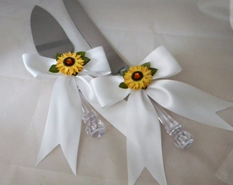 Wedding  Reception Party Sunflower Cake Knife & Server Bow and Ribbons