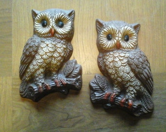 Pair 70s Owl Plaques, Wall Hanging 3-D Owls in Browns and Orange