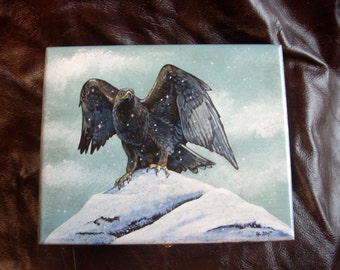 Hand Painted Wooden Box-Golden Eagle