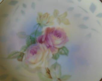 delicate rose design tea plates x 4 hand painted