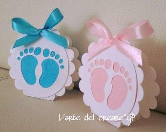 Baby Feet Confetti wedding favor boxes Birth Baptism (0.70 per item)