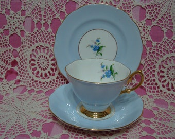 Beautiful Vintage Royal Albert Pastel Blue FORGET ME NOT Cup, Saucer & Plate.
