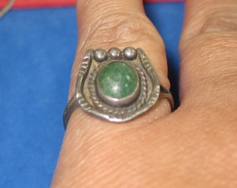 M-11 Vintage Ring size 5 sterling  silver variscite stone