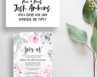 watercolor bridal shower invitations // floral party invitations // watercolor flowers // dusty pink gray // PRINTED invites // custom