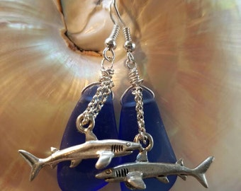 Shark with chain over deep blue sea glass earrings