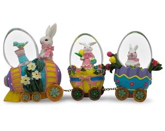 """5"""" x 6.5"""" Easter Bunny Easter Egg Train Water Globe Figurines- SKU # PM2517"""