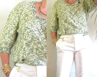 french vintage 70's knit in light green handknit sweater size S/M