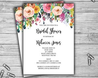 Custom - Floral - Bridal Shower Invitation - PRINTABLE - Shabby Chic - Bridal Shower Invite - L08