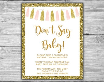 Pink and Gold - Don't Say Baby - Baby Shower - Clothes Pin - Game - Sign - Instant Download - Printable - Pink - Gold - Tassels - 094
