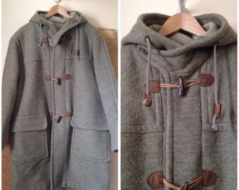 HENRY COTTON's coat duffle coat man vintage 90 s Tweed wool green light khaki (46/XXL)