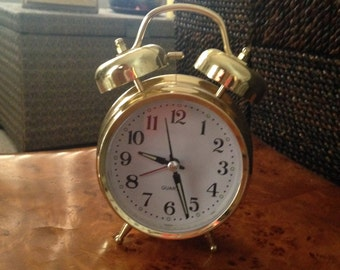 Vintage. 1980s brass battey operated alarm clock