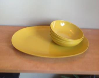 Melmac dishes, tableware, melamine, camping, mustard
