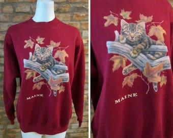 Vintage Sweatshirt • 90s Sweatshirt • Cat Sweatshirt Crewneck • Large Maine Sweatshirt • Kitten Sweater Cat In A Tree Graphic Sweatshirt